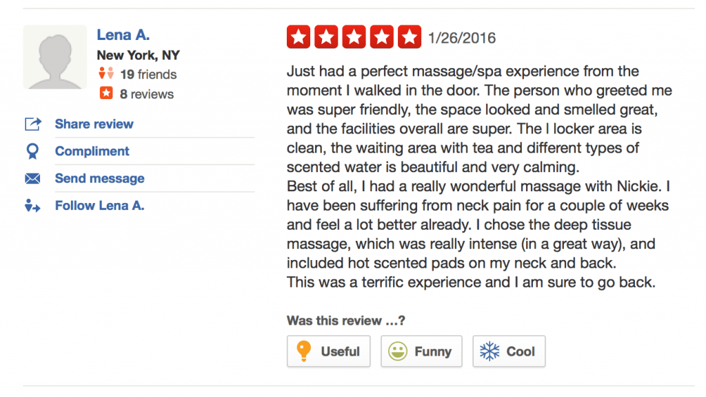 Ohm Spa 5 Star Review - Just had a perfect massage/spa experience from the moment I walked in the door. The person who greeted me was super friendly, the space looked and smelled great, and the facilities overall are super. The l locker area is clean, the waiting area with tea and different types of scented water is beautiful and very calming. Best of all, I had a really wonderful massage with Nickie. I have been suffering from neck pain for a couple of weeks and feel a lot better already. I chose the deep tissue massage, which was really intense (in a great way), and included hot scented pads on my neck and back. This was a terrific experience and I am sure to go back.