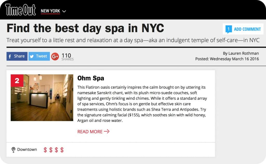 Find the best day spa in NYC. Treat yourself to a little rest and relaxation at a day spa—aka an indulgent temple of self-care—in NYC. Ohm Spa & Lounge - This Flatiron oasis certainly inspires the calm brought on by uttering its namesake Sanskrit chant, with its plush micro-suede couches, soft lighting and gently tinkling wind chimes. While it offers a standard array of spa services, Ohm's focus is on gentle but effective skin care treatments using holistic brands such as Shea Terra and Antipodes. Try the signature calming facial ($155), which soothes skin with wild honey, Argan oil and rose water. Life in the big city can really wear you out: the interminable daily subway commutes, the hustle at work (and at play), the sheer volume of people who seem determined to somehow make your day even more annoying. New Yorkers, perhaps more than anybody else, need a break every once in a while: a chance to relax, preferably with a massage, a refreshing facial or a manicure at one of these spas. And there's no need to wait for Spa Week NYC—just pick an excellent day spa (many with affordable spa treatments) that offers just what you need when you want to get away from it all for a day or even just an afternoon.