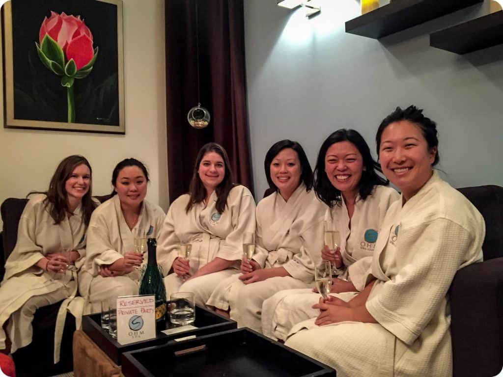 Another fun + relaxing get together at @ohmspa! Sandy organized a lovely day for Deidre and her friends for Deidre's bachelorette party 🎉 Each of the ladies received their chosen treatment, and were also able to spend time in our relaxation lounge visiting together. Gatherings at Ohm Spa are a great way to treat your guests to a unique, luxurious and relaxing experience they are sure to enjoy and remember. Visit our website for more information about booking a group event of your own!